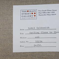 "Sybil Goldsmith Oil on Linen, ""Sailing Close to Shore"""