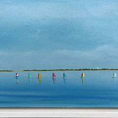 "Robert Stark Jr. Oil on Canvas ""Rainbow Fleet Sailing in Nantucket Harbor"""