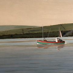 """Robert Stark Jr. Oil on Board """"Irish Fishing Trawler in Calm Waters"""""""