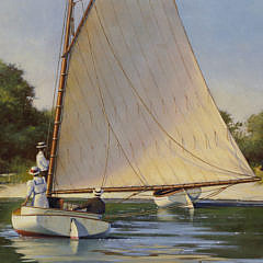 "Donald W. Demers Oil on Board ""Sunday Afternoon"""