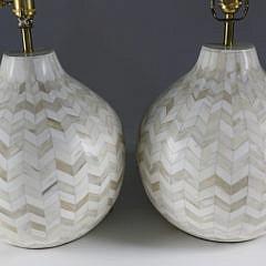 Pair of Contemporary Bone Chevron Inlaid Bulbous Lamps