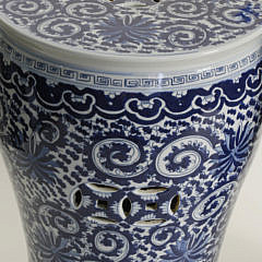 Pair of Chinese Blue and White Decorated Garden Stools, 20th Century