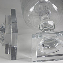 Pair of Etched Glass Greek Key Photophores