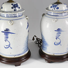 Pair of Chinese Blue and White Porcelain Temple Covered Jars, 20th Century