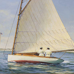 "Donald W. Demers Oil on Board ""Sailing Lesson"""