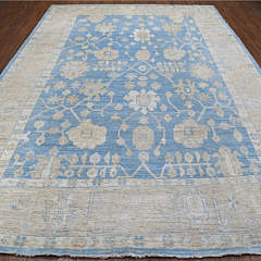 Hand Knotted Blue and Cream Angora Oushak Oriental Carpet