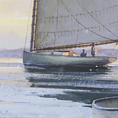 "Donald W. Demers Gouache on Paper ""Nantucket Harbor in Winter"""