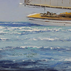 "William Lowe Oil on Canvas ""Sailing off Nantucket Harbor"""