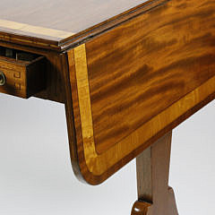 English Regency Mahogany and Satinwood Sofa Table, circa 1820