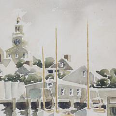 """Doris and Richard Beer  Watercolor on Paper, """"Nantucket Harbor"""""""
