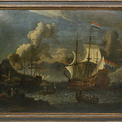 "Follower of Abraham Storck ""Seascape with Two Dutch Man-o-War Off the Bay of Smyrna"""