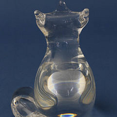 Signed Steuben Clear Crystal Fox Designed by Lloyd Atkins