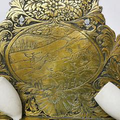 Belgian Engraved Brass Hanging Pipe Rack, 19thCentury