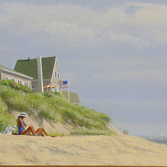 "Joseph McGurl Oil on Board ""Steps Beach"""