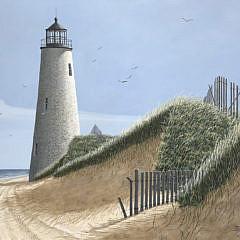 "James Cromartie Acrylic on Board ""Great Point Light"""