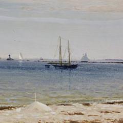 "Joseph McGurl Oil on Board ""View Towards the Jetties"""