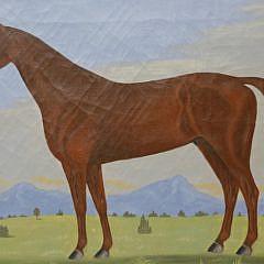 "American School Oil on Canvas ""Portrait of a Chestnut Arab Stallion in Mountainous Landscape"""