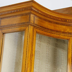 Adam Style Decorated Satinwood Breakfront Cabinet, circa 1890s