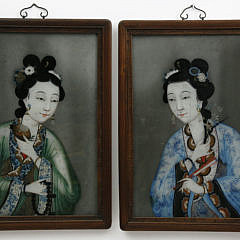 Pair of Chinese Export Reverse Glass Paintings, mid 19th Century
