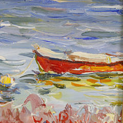"Jan Pawlowski Oil on Canvas ""Sailing in Polpis Harbor"""