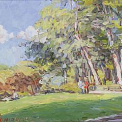 """Jan Pawlowski Oil on Canvas, """"Summer Day"""""""