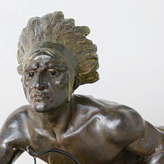 """After Rene Andre Varnier Cold Painted Bronze Sculpture """"Indian Scout"""""""