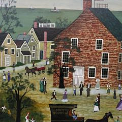 "Jan L. Munro Oil on Panel, ""Main Street, Nantucket"""