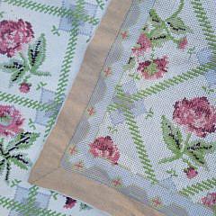 Twin Roses Crewel Stitch Flat Woven Carpet