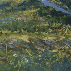 "Illya Kagan Oil on Linen ""Panoramic Distant View of  Nantucket Harbor and the Jetties"""