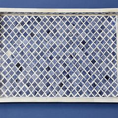 Geometric Inlaid Blue and White Bone Two-Handle Serving Tray