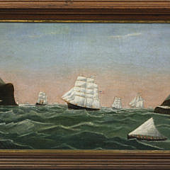 "American Primitive Maritime Oil on Canvas ""International Shipping in the Strait of Gibraltar"""