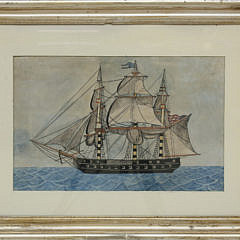 "American Watercolor ""Portrait of a Three-Masted Gunboat"""