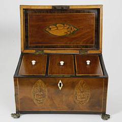 British Regency Triple Compartment Tea Caddy, circa 1820