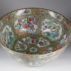 Chinese Export Rose Medallion Punch Bowl,  mid 19th Century