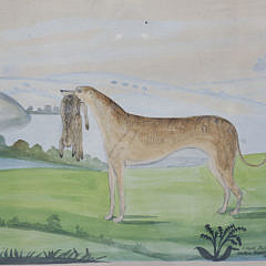 """J. Hyde Watercolor, Ink and Pencil on Paper """"Portrait of a Lurcher with Hare"""", circa 1844"""
