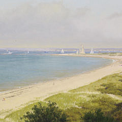 """Joseph McGurl Oil on Canvas """"Panoramic View of the Jetties from the Cliff, Nantucket"""""""