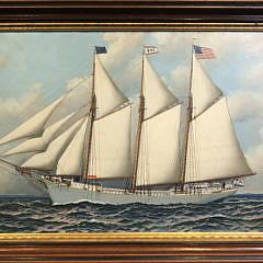 "Antonio Jacobsen Oil on Board ""Portrait of the 3-Masted Schooner Republic"", circa 1900"
