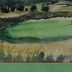 "C. Robert Perrin Watercolor on Paper, ""Sankaty Light Golf Course"""