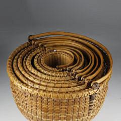 Nest of 8 William Sevrens  Round Swing Handle Baskets, circa 1995
