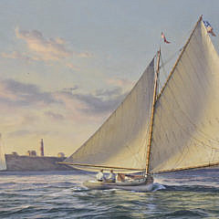 """Donald W. Demers Oil on Linen """"Sailing Off Nantucket at Sankaty Light"""""""