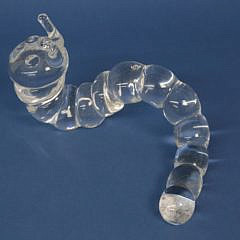 Signed Steuben Clear Crystal Caterpillar Designed by Peter Yenawine