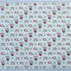 Twin Roses Crewel Stitch Flat Woven Carpet