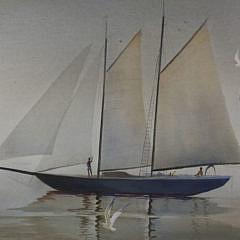 """C. Robert Perrin Watercolor on Paper """"Sailing in the Caribbean"""""""