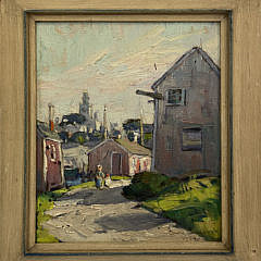 """Anne Ramsdell Congdon Oil on Board """"From Swain's Wharf Looking West"""""""