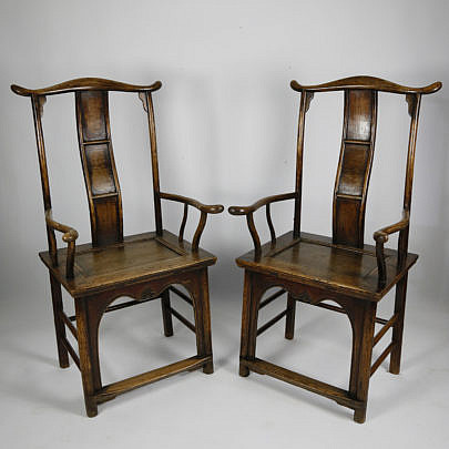 101 Pair of Chinese Elmwood Yoke Back Scholar Chairs A_MG_2659