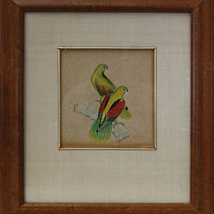 China Trade Gouache and Ink Picture of Crimson-winged Parrots, mid 19thCentury