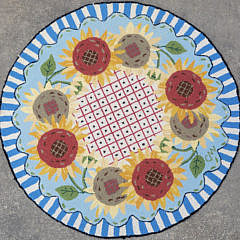 Claire Murray French Sunflower Wreath Hooked Rug