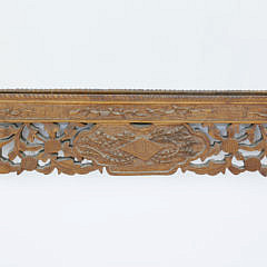 Chinese Export Carved Sandalwood Pierced Frame with Mirror