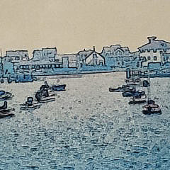 Vintage Nantucket Harbor Polarized Hand Colored Panoramic Photograph