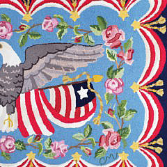 Vintage Claire Murray American Flag and Eagle Nantucket Hooked Rug